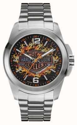 Harley Davidson Cassa e cinturino in acciaio inossidabile con quadrante con stampa di fiamme 76A147