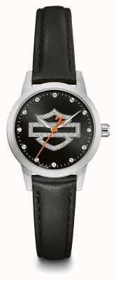 Harley Davidson Set da donna in cristallo nero con quadrante nero cinturino in pelle nera 76L181