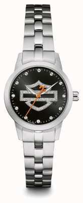 Harley Davidson Cinturino in acciaio inossidabile con quadrante nero con logo in cristallo 76L182