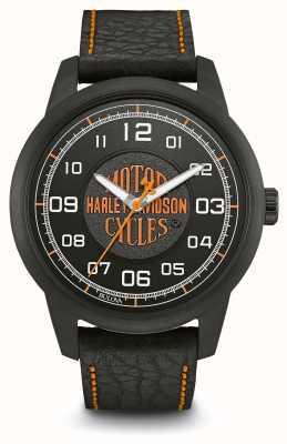 Harley Davidson Custodia in metallo con quadrante nero con stampa logo e cinturino in pelle nera 78A116