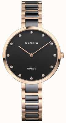 Bering Quadrante con montatura in oro rosa e cristallo di titanio nero 11334-762