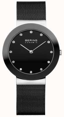 Bering Cinturino in cristallo con quadrante in ceramica e cinturino in maglia nera 11435-102