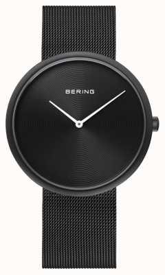 Bering Cinturino in maglia nera con quadrante nero opaco 14339-222