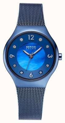 Bering Quadrante blu lucido lucidato e cinturino in cristallo blu 14427-393