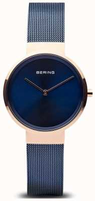 Bering Classico quadrante blu rosa per donna con quadrante blu dorato 14531-367