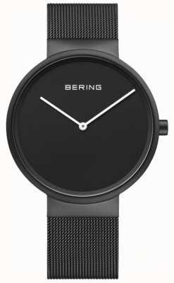 Bering Cinturino in maglia nera rivestita in ip con quadrante nero per uomo 14539-122