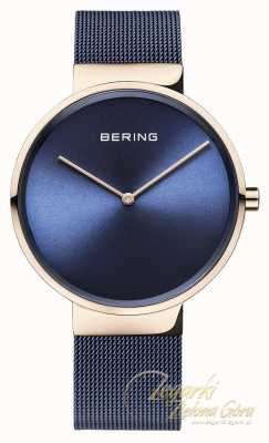 Bering Cinturino in tessuto placcato oro blu con quadrante blu rosa classico 14539-367
