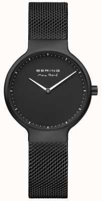 Bering Quadrante nero opaco Max rené e cinturino in rete nera placcata in ip 15531-123