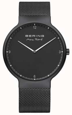 Bering Max rené quadrante nero marcatori bianchi cinturino in rete nera placcato ip 15540-123