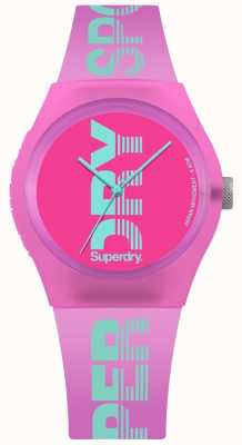 Superdry Stampa con logo ciano di colore rosa urbano da donna SYL189PN