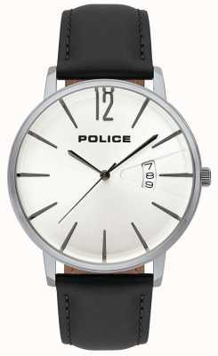 Police Cinturino in pelle nera con quadrante bianco con quadrante bianco 15307JS/01