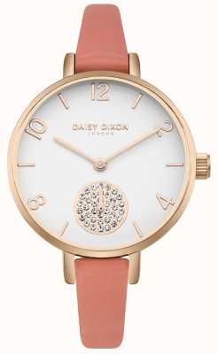Daisy Dixon Set da donna alice in cristallo con cinturino in pelle rosa DD0750RG