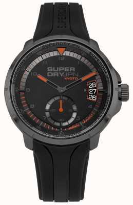 Superdry Cinturino in silicone nero con datario da uomo kyoto SYG217BB