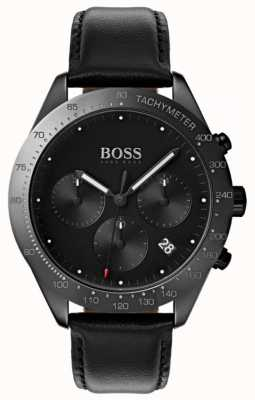 BOSS Cronografo Talent con quadrante nero con datario in pelle nera 1513590
