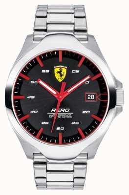 Scuderia Ferrari Cinturino in acciaio inossidabile con quadrante nero per uomo 0830507