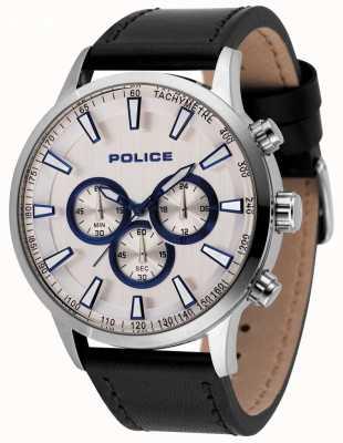 Police Orologio cronografo da uomo con cinturino in pelle nera 15000JS/04