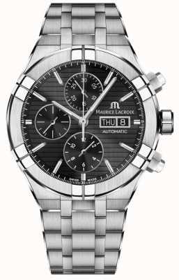 Maurice Lacroix Cronografo automatico in acciaio inossidabile Aikon con quadrante nero AI6038-SS002-330-1