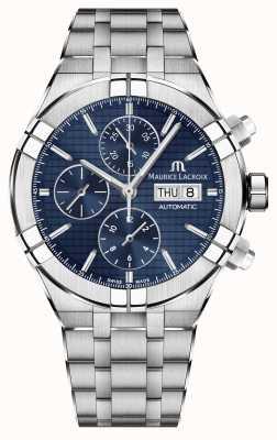 Maurice Lacroix Cronografo automatico Aikon in acciaio inossidabile con quadrante blu AI6038-SS002-430-1