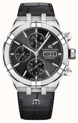 Maurice Lacroix Cronografo automatico Aikon con cinturino in pelle nera AI6038-SS001-330-1