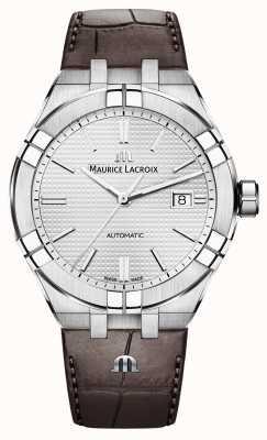 Maurice Lacroix Orologio automatico in pelle marrone Aikon AI6008-SS001-130-1