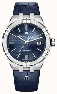 Maurice Lacroix Orologio in pelle blu con quadrante blu automatico Aikon AI6008-SS001-430-1