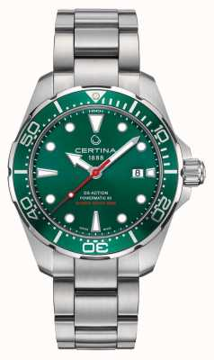 Certina Orologio ds action powermatic con quadrante verde / lunetta in acciaio inossidabile C0324071109100
