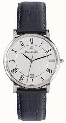 Michel Herbelin Quadrante bianco classico con cinturino in pelle nera da uomo 12248/08