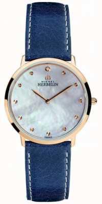 Michel Herbelin Quadrante in madreperla con cinturino in pelle blu ikone da donna 16915/PR59BL