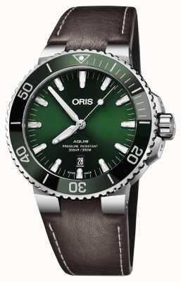 Oris Cinturino in pelle nera con quadrante verde aquis per uomo 01 733 7730 4157-07 5 24 10EB