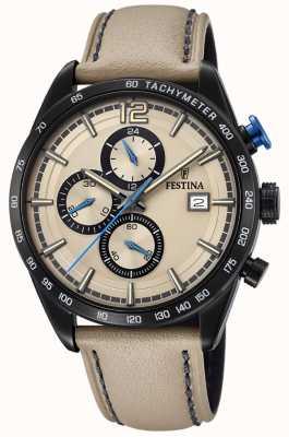 Festina Quadrante color crema cronografo sportivo con cinturino in pelle color crema F20344/1