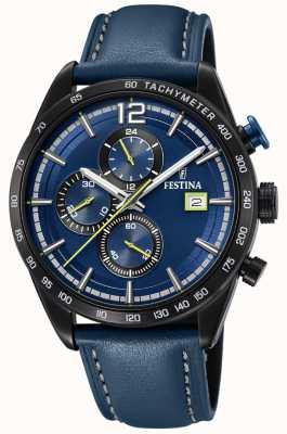 Festina Quadrante blu con cinturino in pelle blu cronografo sportivo da uomo F20344/2