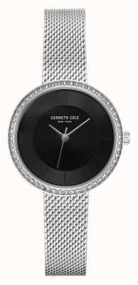Kenneth Cole Womens diamond set quadrante nero maglia in acciaio inox KC50198002