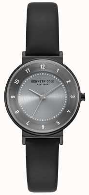 Kenneth Cole Orologio da donna con cinturino in pelle nera quadrante grigio KC50075001