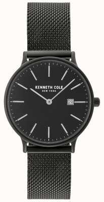 Kenneth Cole Cassa nera da donna e quadrante con datario e reticolo nero KC15057004