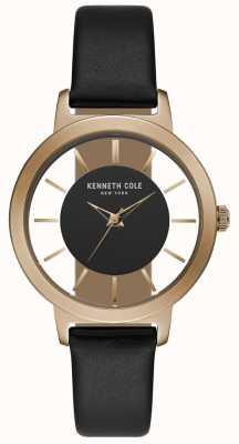 Kenneth Cole Cassa in oro rosa con cinturino in pelle nera KC15172004