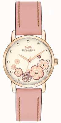Coach Quadrante floreale color crema con cinturino in pelle rosa grande 14503060