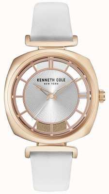 Kenneth Cole Cassa in oro da donna con cinturino in pelle bianca KC15108003