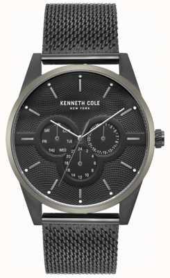 Kenneth Cole Orologio da uomo con cinturino in maglia nera con quadrante nero KC15205005