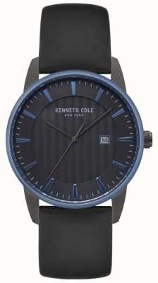 Kenneth Cole Orologio da uomo in pelle nera con quadrante nero KC15204004