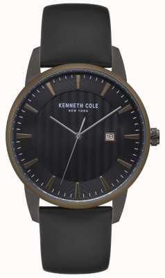 Kenneth Cole Orologio da uomo in acciaio inossidabile con lunetta in pelle nera KC15204005