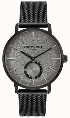 Kenneth Cole Orologio da uomo con cassa quadrata grigia con cinturino in maglia nera KC50055001