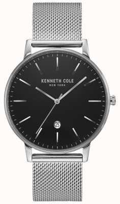 Kenneth Cole Orologio classico in maglia di acciaio inossidabile color argento nero KC50009004