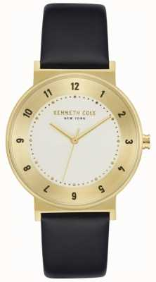 Kenneth Cole Orologio in pelle nera con cassa color oro KC50074002