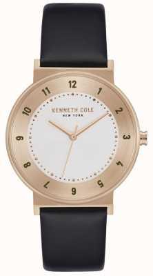 Kenneth Cole Cinturino classico in oro rosa con cinturino in pelle nera KC50074003