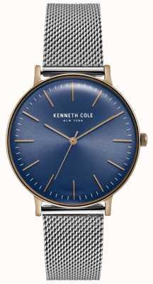 Kenneth Cole Orologio in maglia di acciaio inossidabile quadrante blu scuro KC15183003