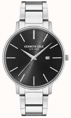 Kenneth Cole Orologio quadrante nero in acciaio inossidabile con datario KC15059002