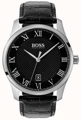 Boss Orologio da uomo in pelle nera con quadrante nero 1513585