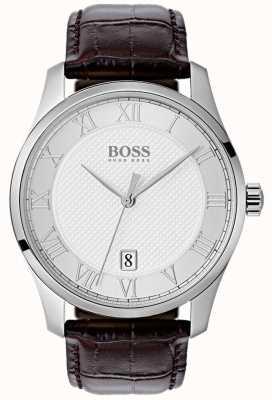 Hugo Boss Orologio da uomo in pelle blu con quadrante argentato 1513586