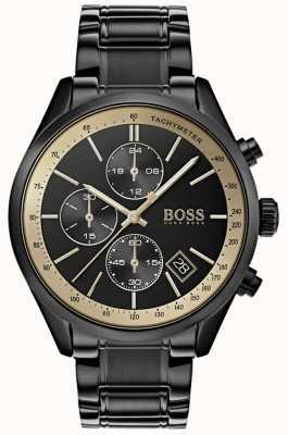 Hugo Boss Mens grand prix nero orologio accento oro / oro 1513578