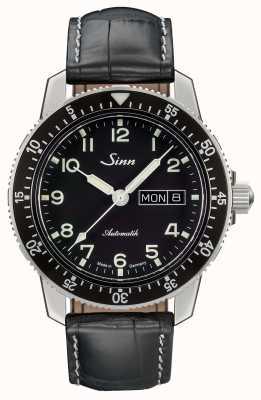 Sinn 104 st sa un classico orologio da pilota cinturino in pelle nera 104.011 LEATHER